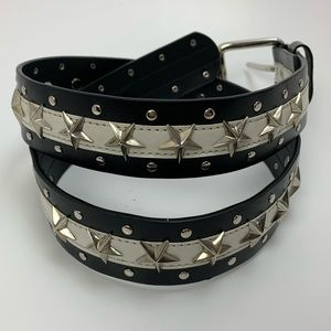 Black and White Leather Star Studded Belt so 34